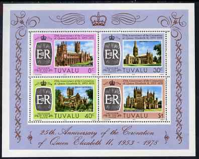 Tuvalu 1978 25th Anniversary of Coronation m/sheet of 4 values (Canterbury, Salisbury, Wells and Hereford Cathedrals) unmounted mint, SG MS93