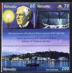 Vanuatu 1997 150th Birth Anniversary of Thomas Edison compsite set of 3 unmounted mint, SG 757-59