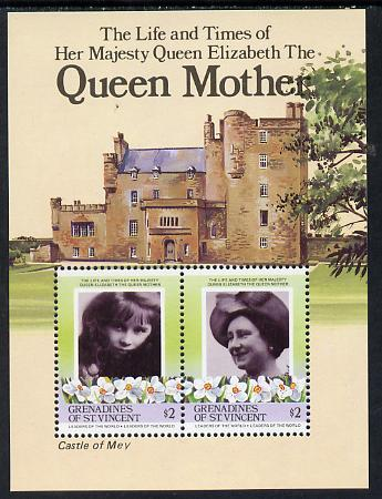 St Vincent - Grenadines 1985 Life & Times of HM Queen Mother (Castle of May) m/sheet unmounted mint (SG MS  411)