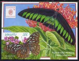 Vanuatu 1999 Butterflies self-adhesive m/sheet (Tirumala hamata, Troides brookiana (Ralph Brooke