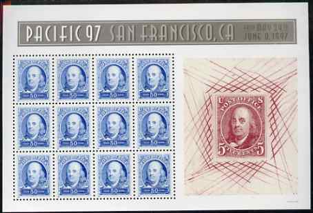 United States 1997 'Pacific 97' International Stamp Exhibition (2nd issue) - 150th Anniversary of first US Postage Stamps m/sheet of 12 x 50c (Franklin) unmounted mint, SG MS 3302a