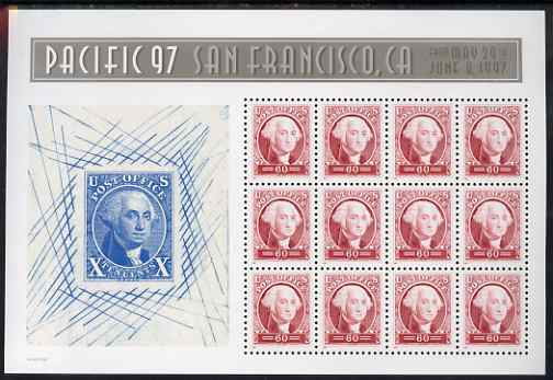 United States 1997 'Pacific 97' International Stamp Exhibition (2nd issue) - 150th Anniversary of first US Postage Stamps m/sheet of 12 x 60c (George Washington) unmounted mint, SG MS 3302b