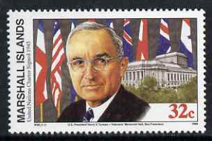 Marshall Islands 1995 History of WW2 (#96) Signing of the United Nations Charter 32c (Harry S Truman & Venterans' Memorial Hall, San Franscisco) unmounted mint, SG 588