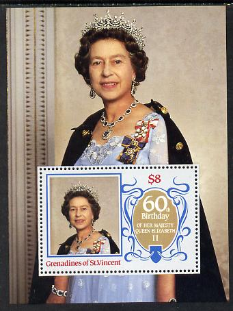 St Vincent - Grenadines 1986 Queen's 60th Birthday m/sheet unmounted mint SG MS 463