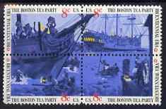 United States 1973 American Revolution Bicentennial - The Boston Tea Party se-tenant block of 4 unmounted mint, SG 1504b