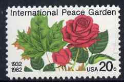 United States 1982 50th Anniversary of International Peace Garden (on USA-Canada border) - Maple Leaf & Rose 20c unmounted mint, SG 1991