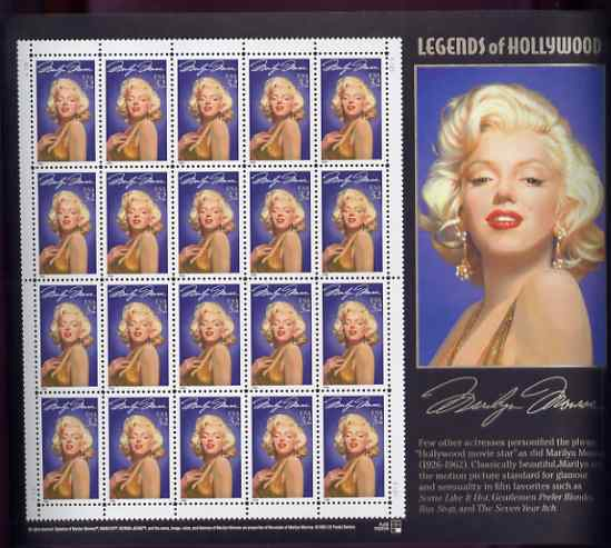 United States 1995 Legends of Hollywood 32c Marilyn Monroe in sheet of 20 with enlarged right-hand margin, unmounted mint SG 3046