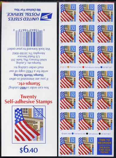 Booklet - United States 1995 Flag over Porch $6.40 booklet of 20 x 32c self-adhsive plus one label (Stamps etc on back cover) pristine, SG SB 204a