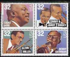 United States 1996 Big Band Leaders se-tenant block or strip of 4 (Count Basie, Tommy & Jimmy Dorsey, Glenn Miller, Benny Goodman) unmounted mint, SG 3234a