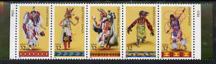 United States 1996 Traditional Amerindian Dances se-tenant strip of 5 unmounted mint, SG 3211a