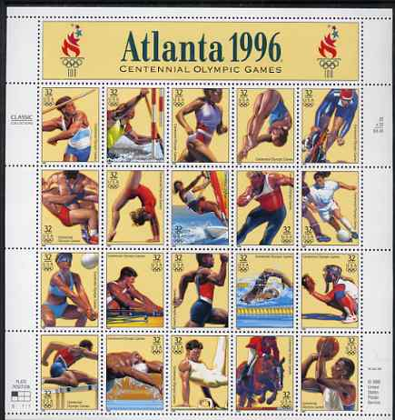 United States 1996 Olympic Games, Atlanta set of 20 in complete sheet with label, unmounted mint, SG 3203a