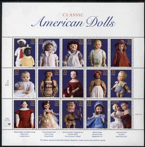 United States 1997 American Dolls se-tenant sheet of 15 plus two labels unmounted mint, SG 3346a