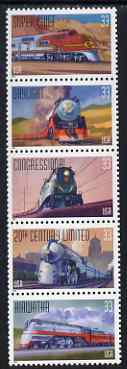 United States 1999 Trains se-tenant vertical strip of 5 unmounted mint, SG 3644a