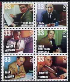United States 1999 Hollywood Composers se-tenant block of six unmounted mint, SG 3651a