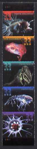United States 2000 Deep Sea Creatures vertical se-tenant strip of 5 unmounted mint, SG 3876a