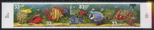 United States 1999 Aquarium Fish self adhesive se-tenant strip of 4 unmounted mint, SG 3626a