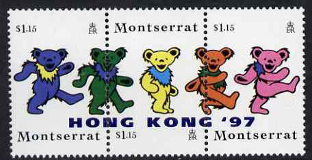 Montserrat 1997 Hong Kong 97 Stamp Exhibition overprinted on strip of 3 Grateful Dead Teddy Bears, unmounted mint SG 1034-6