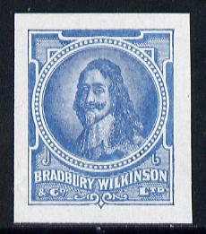 Cinderella - Great Britain Bradbury Wilkinson King Charles I imperf essay stamp in greyish-blue on ungummed paper