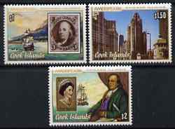 Cook Islands 1986 Ameripex 86 Stamp Exhibition perf set of 3 unmounted mint, SG 1069-71
