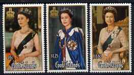Cook Islands 1986 60th Birthday of the Queen perf set of 3 unmounted mint, SG 1065-7