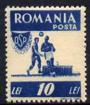Rumania 1946 Sports - Football 10L blue unmounted mint SG 1816