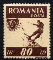 Rumania 1946 Sports - Mountaineering 80L brown unmounted mint SG 1819