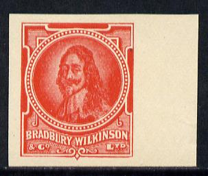 Cinderella - Great Britain Bradbury Wilkinson King Charles I imperf essay stamp in red on ungummed paper