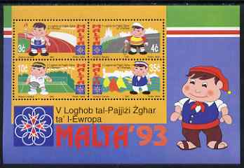 Malta 1993 Small States of Europe Games perf m/sheet containing 4 values unmounted mint SG MS 944