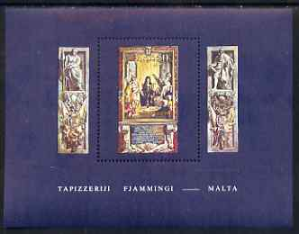 Malta 1980 Flemish Tapestries #4 - Grandmaster Perelles with Saints Jude & Simon perf m/sheet unmounted mint SG MS 640