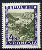 Indonesia 1948-49 perforated 4s produced by the Revolutionary Government (inscribed Repoeblik) showing Scenic View, prepared for postal use but not issued, unmounted mint