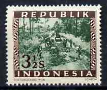Indonesia 1948-49 perforated 3.5s produced by the Revolutionary Government (inscribed Republik) showing Road Construction, prepared for postal use but not issued, unmount...