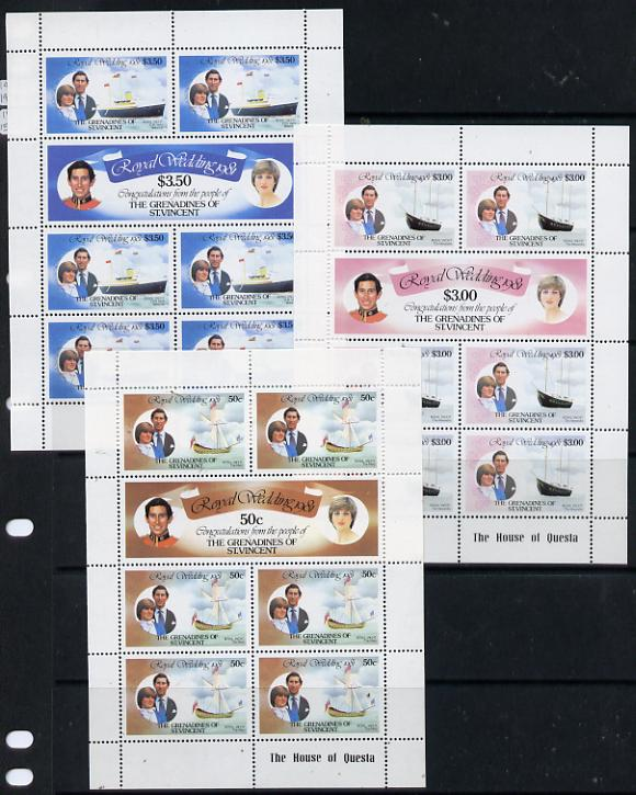 St Vincent - Grenadines 1981 Royal Wedding set of 3 sheetlets unmounted mint (SG 195a, 197a & 199a)