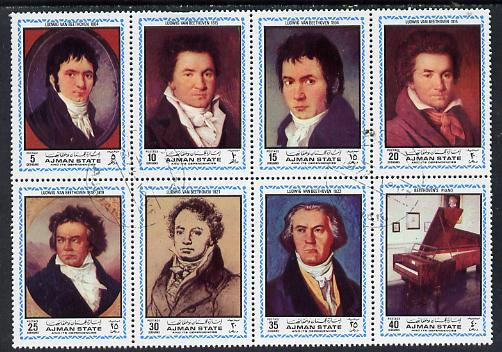 Ajman 1972 Beethoven (Paintings) perf set of 8 cto used (Mi 1336-43A)