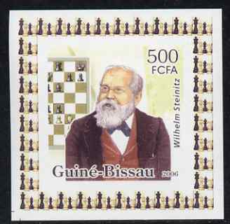 Guinea - Bissau 2006 World Chess Masters #1 - Wilhelm Steinitz individual imperf deluxe sheet unmounted mint. Note this item is privately produced and is offered purely on its thematic appeal