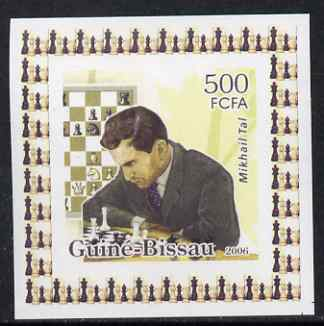 Guinea - Bissau 2006 World Chess Masters #2 - Mikhail Tal individual imperf deluxe sheet unmounted mint. Note this item is privately produced and is offered purely on its thematic appeal