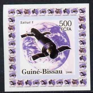Guinea - Bissau 2006 Satellites #1 - Salyut 1 individual imperf deluxe sheet unmounted mint. Note this item is privately produced and is offered purely on its thematic appeal
