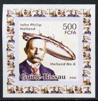 Guinea - Bissau 2006 Great Inventors #2 - John Philip Holland & Submarine individual imperf deluxe sheet unmounted mint. Note this item is privately produced and is offered purely on its thematic appeal