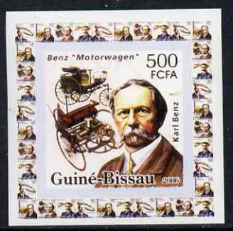 Guinea - Bissau 2006 Great Inventors #3 - Karl Benz & Car individual imperf deluxe sheet unmounted mint