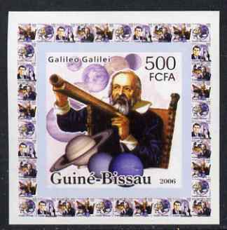 Guinea - Bissau 2006 Space Pioneers #1 - Galileo Galilei & Telescope individual imperf deluxe sheet unmounted mint. Note this item is privately produced and is offered purely on its thematic appeal