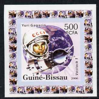 Guinea - Bissau 2006 Space Pioneers #3 - Yuri Gagarin & Vostok individual imperf deluxe sheet unmounted mint. Note this item is privately produced and is offered purely on its thematic appeal