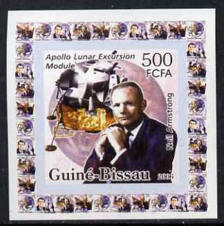 Guinea - Bissau 2006 Space Pioneers #4 - Neil Armstrong & Apollo Lunar Module individual imperf deluxe sheet unmounted mint. Note this item is privately produced and is offered purely on its thematic appeal