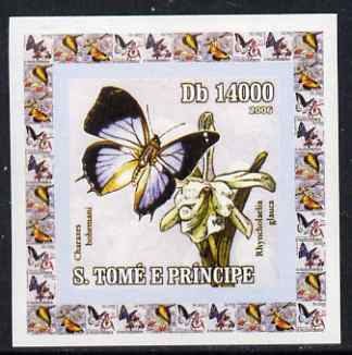 St Thomas & Prince Islands 2006 Orchids & Butterflies #1 individual imperf deluxe sheet unmounted mint. Note this item is privately produced and is offered purely on its thematic appeal