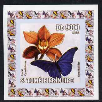 St Thomas & Prince Islands 2006 Orchids & Butterflies #2 individual imperf deluxe sheet unmounted mint. Note this item is privately produced and is offered purely on its thematic appeal