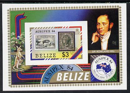 Belize 1984 Stamp on Stamp 'Ausipex' Stamp Exhibition unmounted mint imperf m/sheet (SG MS 798)