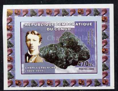 Congo 2006 Minerals & Mineralogists #4 - Charles Palache & Malachite individual imperf deluxe sheet unmounted mint. Note this item is privately produced and is offered purely on its thematic appeal