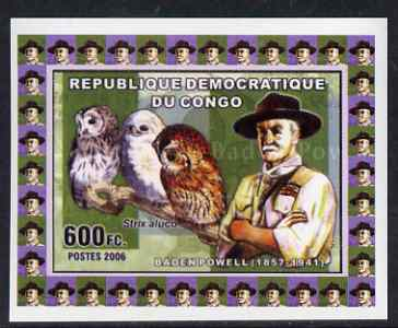 Congo 2006 Baden Powell & Owls #1 - Tawney Owl individual imperf deluxe sheet unmounted mint. Note this item is privately produced and is offered purely on its thematic appeal