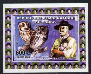 Congo 2006 Baden Powell & Owls #2 - Screech Owl individual imperf deluxe sheet unmounted mint