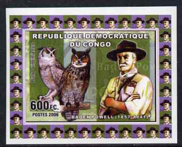 Congo 2006 Baden Powell & Owls #3 - Great Horned Owl individual imperf deluxe sheet unmounted mint. Note this item is privately produced and is offered purely on its thematic appeal