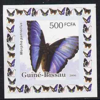 Guinea - Bissau 2006 Butterflies #1 - Morpho patrocius individual imperf deluxe sheet unmounted mint. Note this item is privately produced and is offered purely on its thematic appeal