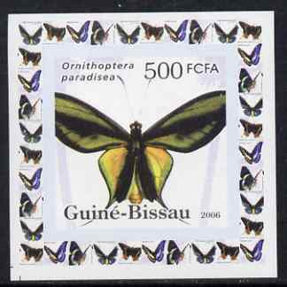 Guinea - Bissau 2006 Butterflies #4 - Ornithoptera paradisea individual imperf deluxe sheet unmounted mint. Note this item is privately produced and is offered purely on its thematic appeal